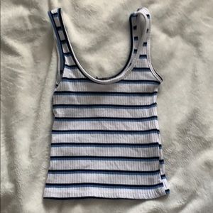 Black and blue striped tank cropped